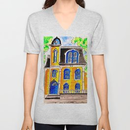Ink and watercolour Victorian house Unisex V-Neck
