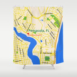 Map of Pensacola, FL Shower Curtain