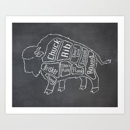 Buffalo Butcher Diagram (Meat Chart) Art Print