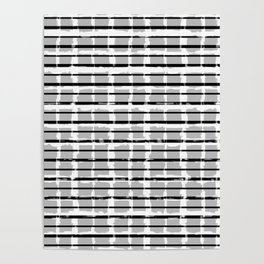 Black and White Distressed Plaid Poster