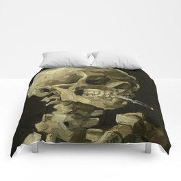 SKULL OF A SKELETON WITH BURNING CIGARETTE - VINCENT VAN GOGH Comforters