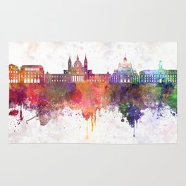 Madrid V2 skyline in watercolor background Rug