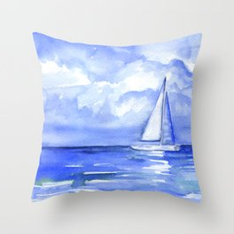 Sailboat on the Ocean Watercolor Throw Pillow