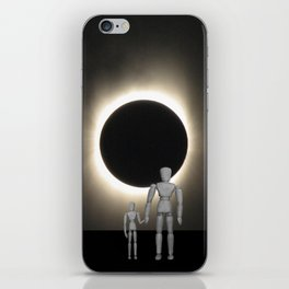 Wooden Anatomy Father Doll and Child before Total Solar Eclipse iPhone Skin