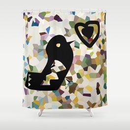 black bird and heart Shower Curtain