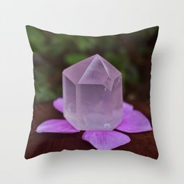Rose Quartz with flower petals Throw Pillow