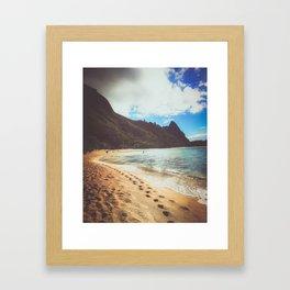 footprints along the beach in Hawaii Framed Art Print