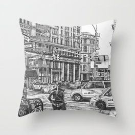 New York Taxis Throw Pillow