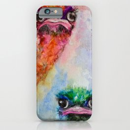 139. Colorful Ostrich Faces by M. Viljoen iPhone Case