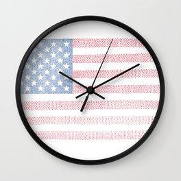 American Flag Stipple Drawing Wall Clock