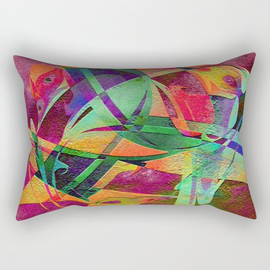 """ Rainbow bird  ""  Rectangular Pillow"