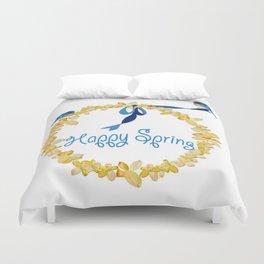 Bluebirds and Blossoms Duvet Cover