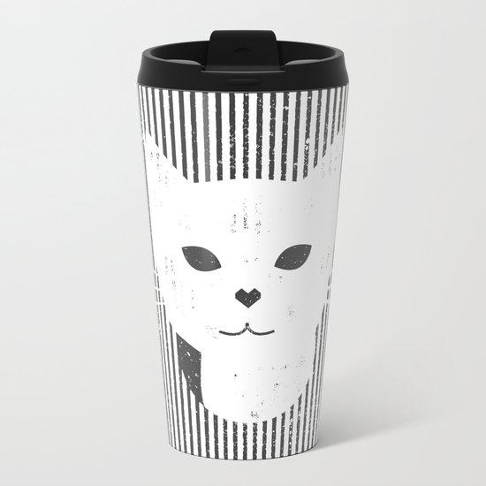 Stripe Kitty Metal Travel Mug