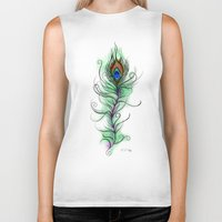 peacock feather Biker Tanks featuring Peacock Feather by Vicky Ink.