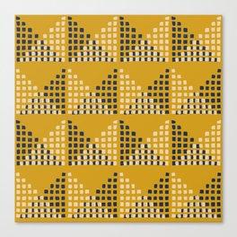 Layered Geometric Block Print in Mustard Canvas Print
