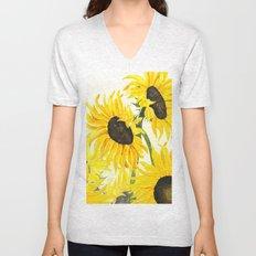 sunflower watercolor 2017 Unisex V-Neck