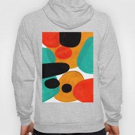 Mid Century Modern Abstract Minimalist Retro Vintage Style Rolie Polie Olie Bubbles Teal Orange Hoody
