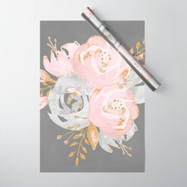 Night Rose Garden Gray Wrapping Paper
