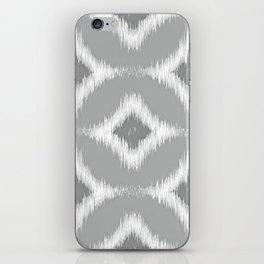 Elegant White Gray Retro Circles Squares Ikat Pattern iPhone Skin