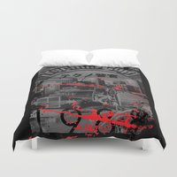 techno Duvet Covers featuring Techno Cop by Slippytee Clothing