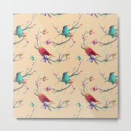 Abstract Spring Summer Colorful Hummingbirds Metal Print