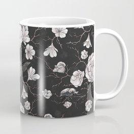 Seamless pattern with balsam flowers, tropical beetles Coffee Mug