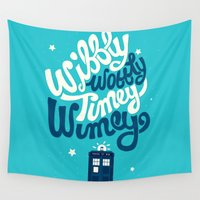 risa rodil Wall Tapestries featuring Wibbly Wobbly Timey Wimey by Risa Rodil