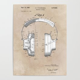 patent art Falkenberg Headphone assembly 1966 Poster