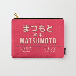 Vintage Japan Train Station Sign - Matsumoto Nagano Red Carry-All Pouch