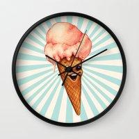 ice cream Wall Clocks featuring Ice Cream by Kelly Gilleran