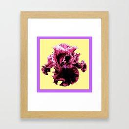 Maroon-Purple Pink Frilly Iris Design Art Framed Art Print
