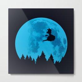 The Moon on Dragon Ball - Blue Metal Print