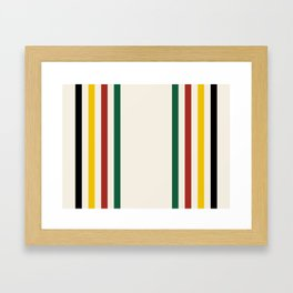 Rustic Lodge Stripes Black Yellow Red Green Framed Art Print