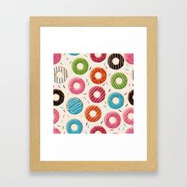 Colorful Donut Design Framed Art Print