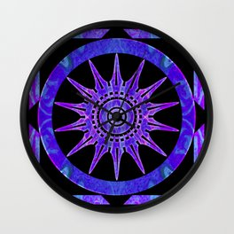 Starlit Purple Nights Abstract Mandala Artwork Wall Clock