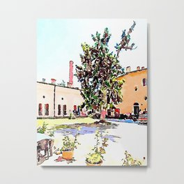Brisighella: courtyard with tree Metal Print