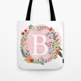 Flower Wreath with Personalized Monogram Initial Letter B on Pink Watercolor Paper Texture Artwork Tote Bag