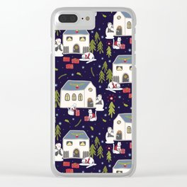 Christmas Cats Village Festive Seamless Vector Pattern, Drawn Present Boxes Clear iPhone Case