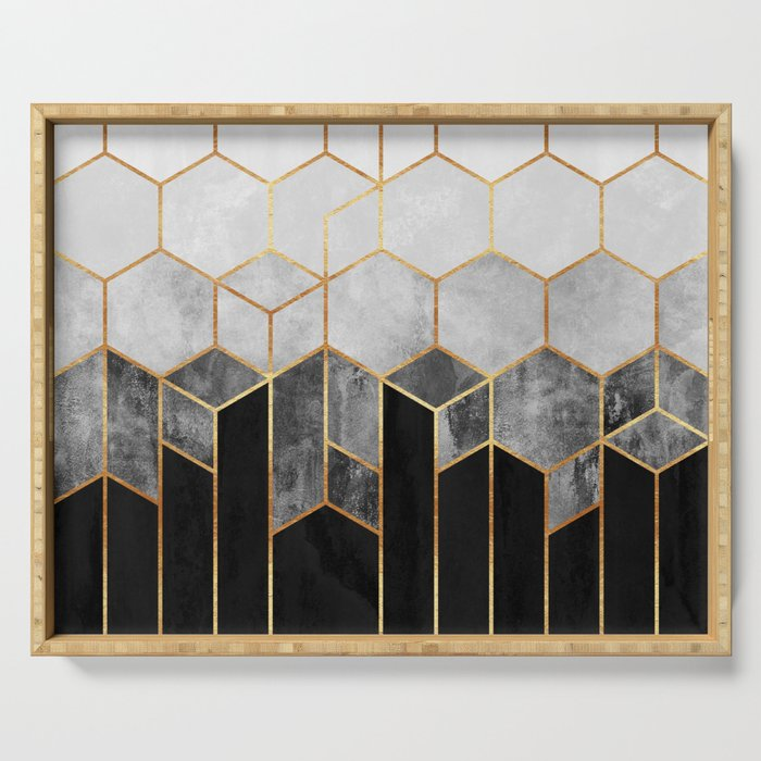 Charcoal Hexagons Serving Tray