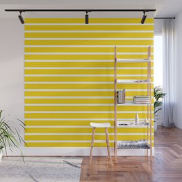 Yellow and White Horizontal Stripes Pattern Wall Mural