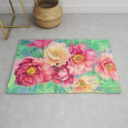 Lovely beautiful Watercolor acrylic pastel Peony flowers floral wall art Rug