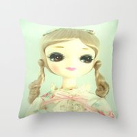 doll Throw Pillows featuring DOLL  by Vintage  Cuteness