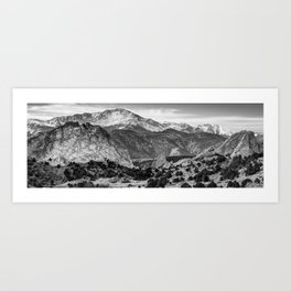 Garden of the Gods and Pikes Peak Panorama - Monochrome Art Print