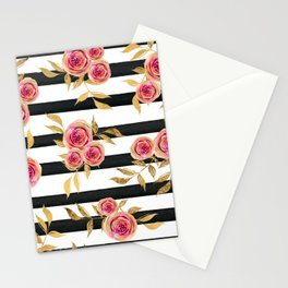 Girly Modern Pink Gold Flowers Black White Stripes Stationery Cards