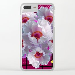 BUTTERFLIES  WHITE TREE PEONY FLOWERS  BURGUNDY ART Clear iPhone Case