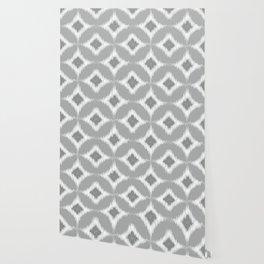 Elegant White Gray Retro Circles Squares Ikat Pattern Wallpaper