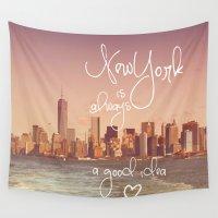 new york Wall Tapestries featuring NEW YORK NEW YORK by SUNLIGHT STUDIOS  Monika Strigel