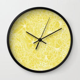 Modern trendy white floral lace hand drawn pattern on meadowlark yellow Wall Clock