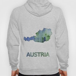 Austria map outline Blue-green watercolor painting Hoody