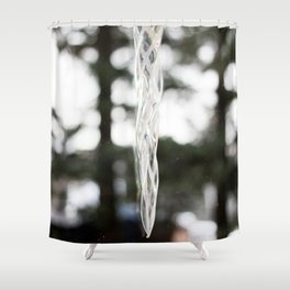 Glass Icicle Photography Print Shower Curtain